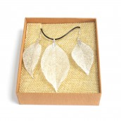 Necklace & Earring Set - Bravery Leaf - Silver